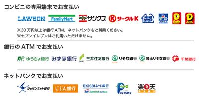 コンビニ、銀行ATM、ネットバンキング